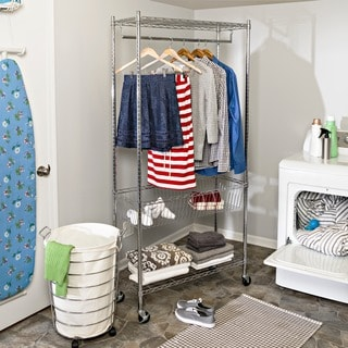Honey Can Do SHF-04272 Chrome Rolling Laundry Station