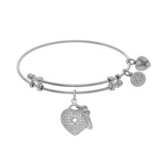 Angelica Heart-Key Charm with White Cubic Zirconia