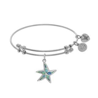 Angelica Created Opal Starfish Charm on White Cubic Zirconia