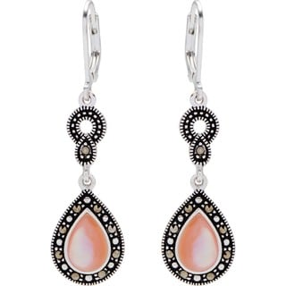 Silverplated Marcasite Pink Shell Teardrop Leverback Earrings