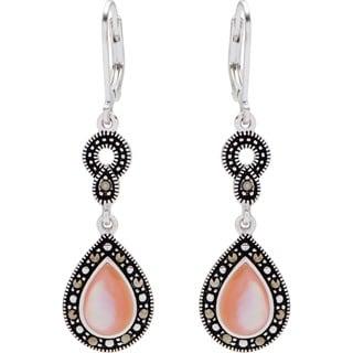 Silverplated Marcasite Pink Shell Teardrop Leverback Earrings