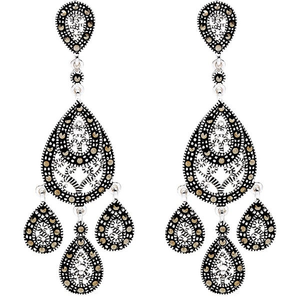 Silverplated Marcasite Chandelier Earrings