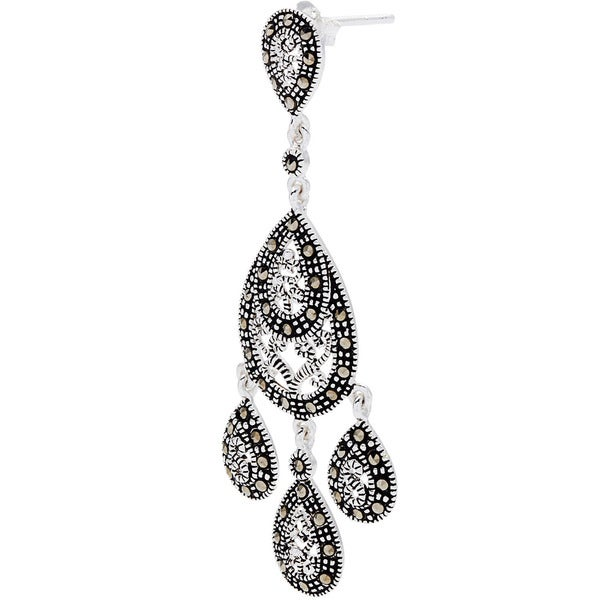 Silverplated Marcasite Chandelier Earrings - Free Shipping On ...