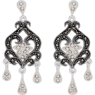 Silverplated Metal Marcasite and Crystal Chandelier Earrings