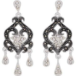 Silverplated Metal Marcasite and Crystal Chandelier Earrings