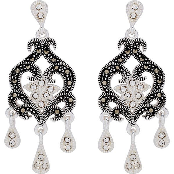 5ddf4dde83d0d1 Shop Silverplated Metal Marcasite and Crystal Chandelier Earrings ...
