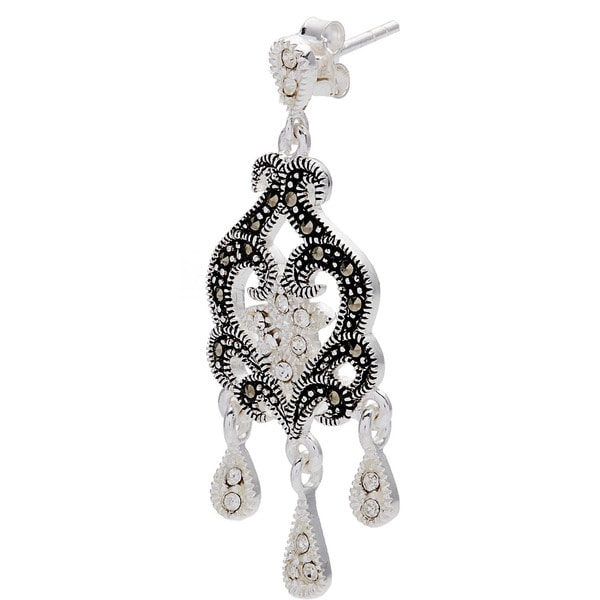 Silverplated Metal Marcasite and Crystal Chandelier Earrings ...