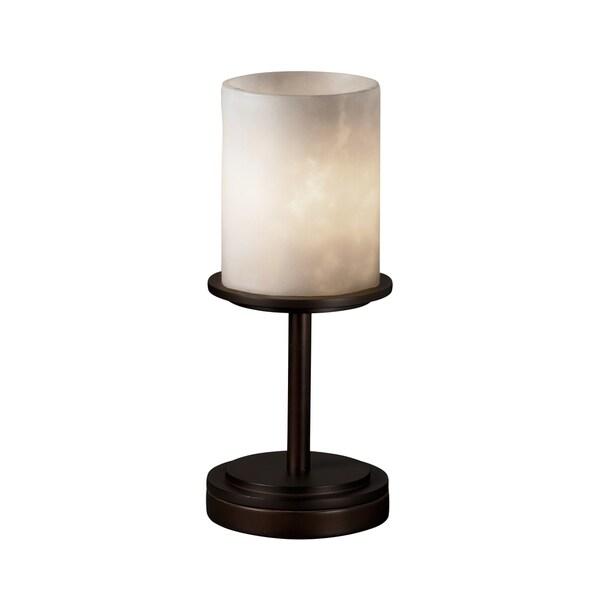 Justice Design Group Clouds Dakota 1-light Dark Bronze Table Lamp, Clouds Cylinder - Flat Rim Shade