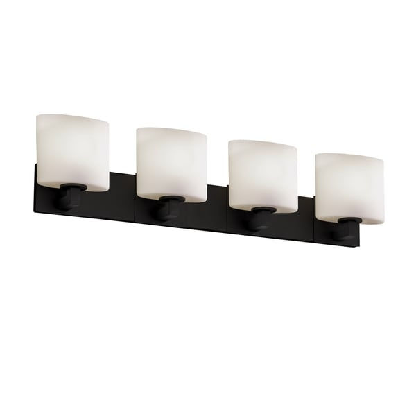Justice Design Group Fusion Modular 4 Light Matte Black Bath Bar Opal Oval Shade