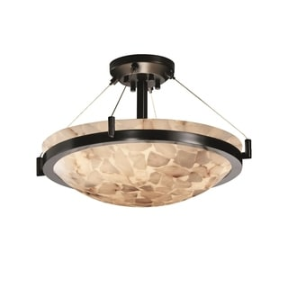 Justice Design Group Alabaster Rocks Ring 3-light Matte Black Semi-Flush