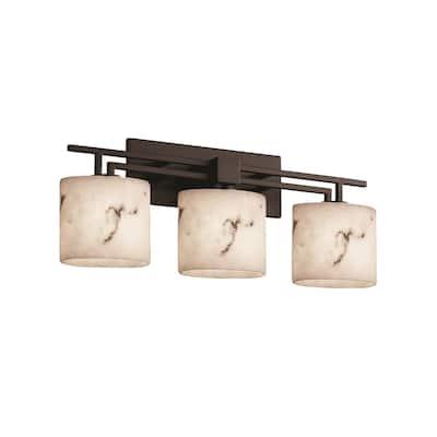 Justice Design LumenAria Aero 3-light Dark Bronze Bath Bar, Faux Alabaster Oval Shade