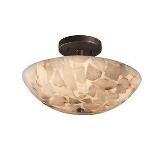 Justice Design Group Alabaster Rocks Ring 2-light Matte Black Semi-Flush