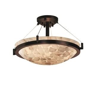 Justice Design Group Alabaster Rocks Ring 3-light Dark Bronze Semi-Flush