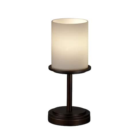 Justice Design Group Fusion Dakota 1-light Dark Bronze Table Lamp, Short Opal Cylinder - Flat Rim Shade