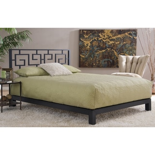 Motif Design Greek Key Metal Headboard and Aura Deluxe Platform Bed - Black