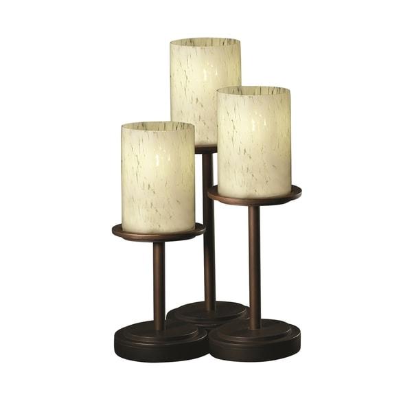 Justice Design Group Fusion Dakota 3-light Dark Bronze Table Lamp, Droplet Cylinder - Flat Rim Shade