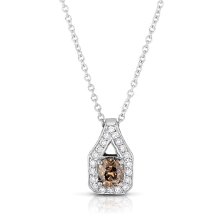 Eloquence 18k White Gold 1 3/8ct TDW Cognac Diamond Halo Pendant (Fancy Brown, I1-I2)
