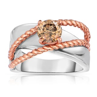 Eloquence 14k Two-Tone Gold 1ct TDW Natural Cognac Solitaire Diamond Ring (Brown, I1-I2)