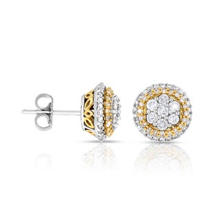 Eloquence, 14k Two-tone Gold 1ct TDW Cluster Earrings (G-H, I2)