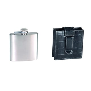 Royce Leather 5-ounce Stainless Steel Flask and Genuine Leather Case
