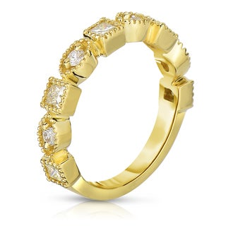 Eloquence 18k Yellow Gold, 3/4ct TDW Natural Light Yellow Stackable Diamond Band (Yellow, SI1-SI2)
