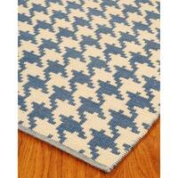 Hand Woven Winchester Dhurrie Wool 4' x 6' Rug with Bonus Rug Pad