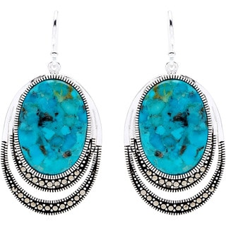 Silverplated Turquoise and Marcasite Dangling Hook Earrings