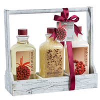 Redcurrant Distressed White 3-section Bath Set Caddy