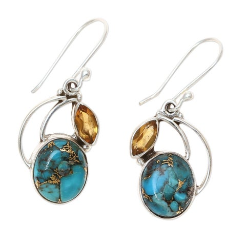 Handmade Sterling Silver Modern Mystique Citrine Turquoise Dangling Style Earrings (India)