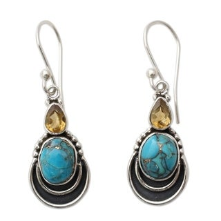 Handmade Sterling Silver 'Eternal Allure' Citrine Turquoise Earrings (India)