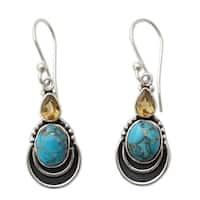 Handmade Sterling Silver 'Eternal Allure' Citrine Turquoise Earrings (India) - Blue