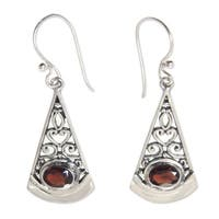Handmade Sterling Silver 'Mount Agung Crimson' Garnet Earrings (Indonesia)