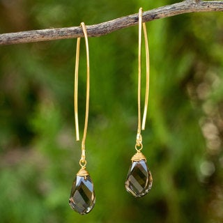 Handcrafted Gold Overlay 'In a Twist' Smoky Quartz Earrings (Thailand)