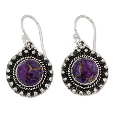 Sterling Silver 'Purple Fire' Turquoise Earrings (India)