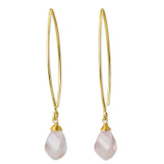 Handcrafted Gold Overlay 'In a Twist' Rose Quartz Earrings (Thailand)