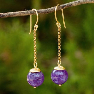 Handcrafted Gold Overlay 'Let's Swing' Amethyst Earrings (Thailand)