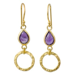 Handcrafted Gold Overlay 'Golden Legacy' Amethyst Earrings (Thailand)