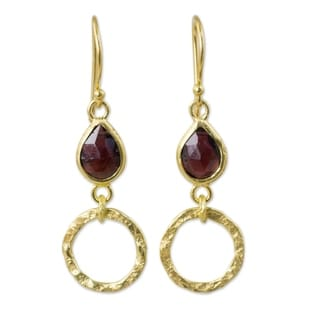Handcrafted Gold Overlay 'Golden Legacy' Garnet Earrings (Thailand)