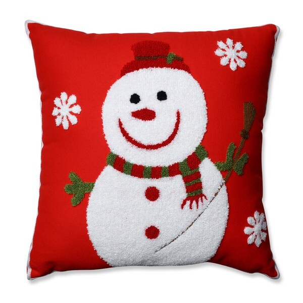 Shop Pillow Perfect Snowman Red 16 5 Inch Throw Pillow