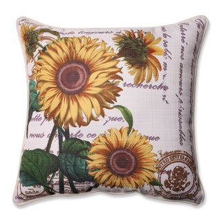 Pillow Perfect Three Sunflowers Beige 16.5-inch Corded Throw Pillow