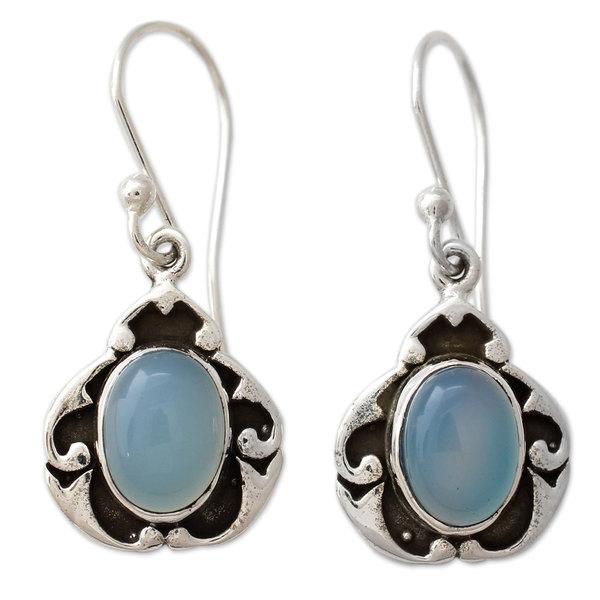 Sterling Silver 'Azure Dreams' Chalcedony Earrings. Opens flyout.