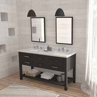 OVE Decors Sarasota 60-inch Double Sink Bathroom Vanity with Marble Top