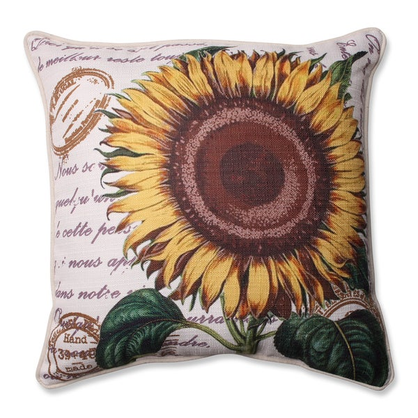 Pillow Perfect Sunflower Beige 16.5-inch Corded Throw Pillow