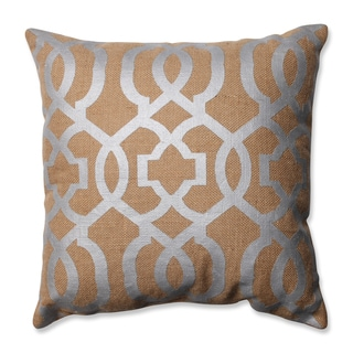 Pillow Perfect Silver Geometric Tan Burlap 16.5-inch Throw Pillow