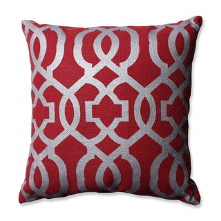 Pillow Perfect Silver Geometric Red Burlap 16.5-inch Throw Pillow