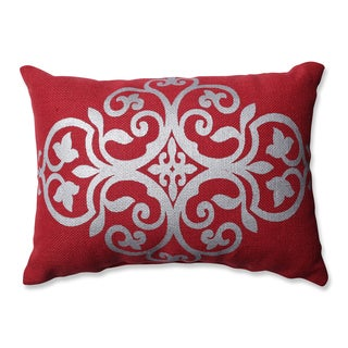 Laurel Creek Ashton Silver Geometric Red Burlap Rectangular Throw Pillow