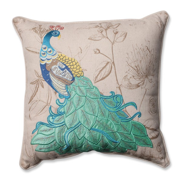 Pillow Perfect Peacock Applique 16.5-inch Corded Throw Pillow