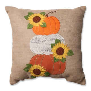 Pillow Perfect Harvest Pumpkins & Sunflowers Burlap 16.5-inch Throw Pillow