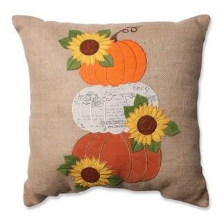 Pillow Perfect Harvest Pumpkins & Sunflowers Burlap 16.5-inch Throw Pillow