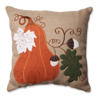 Pillow Perfect Harvest Squash Burlap 16.5-inch Throw Pillow